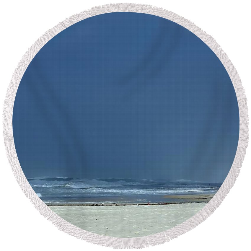 Hurricane Round Beach Towel featuring the photograph Panama City Beach Awaiting Hurricane Isaac by Debra Forand