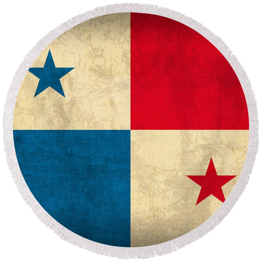 Panama Round Beach Towel featuring the mixed media Panama Flag Vintage Distressed Finish by Design Turnpike