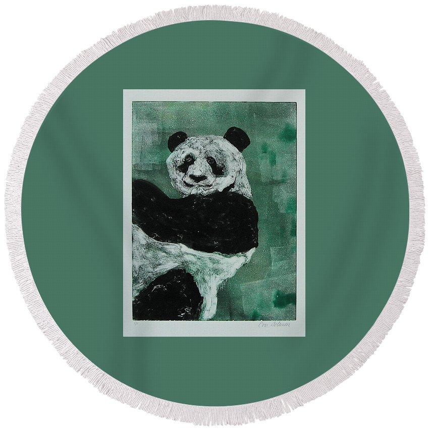 Panda Round Beach Towel featuring the mixed media Panda - Monium by Cori Solomon