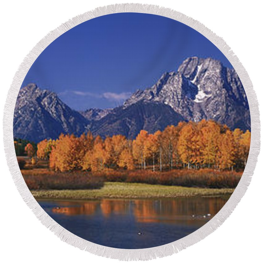 Grand Tetons National Park Round Beach Towel featuring the photograph Panorama Fall Morning Oxbow Bend Grand Tetons National Park Wyoming by Dave Welling