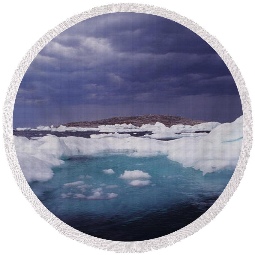 North America Round Beach Towel featuring the photograph Panorama Ice Floes In A Stormy Sea Wager Bay Canada by Dave Welling