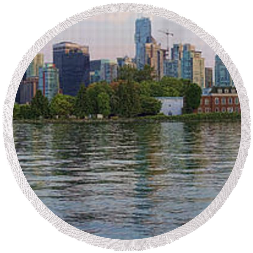 Anoramic Round Beach Towel featuring the photograph Panorama Of Coal Harbour And Vancouver Skyline At Dusk by David Smith
