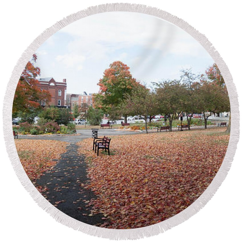 Autumn Round Beach Towel featuring the photograph Panorama Of Taylor Park St Albans Vermont by Thomas Marchessault