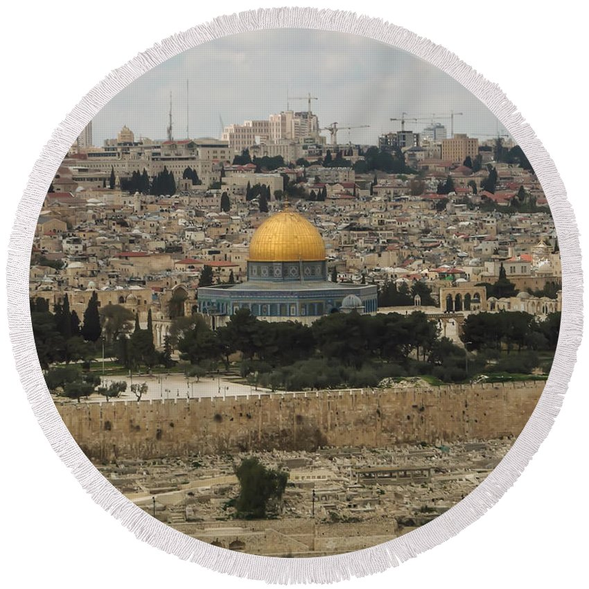 Ancient Round Beach Towel featuring the photograph Panorama Of The Temple Mount Including Al-aqsa Mosque And Dome by Alex Grichenko