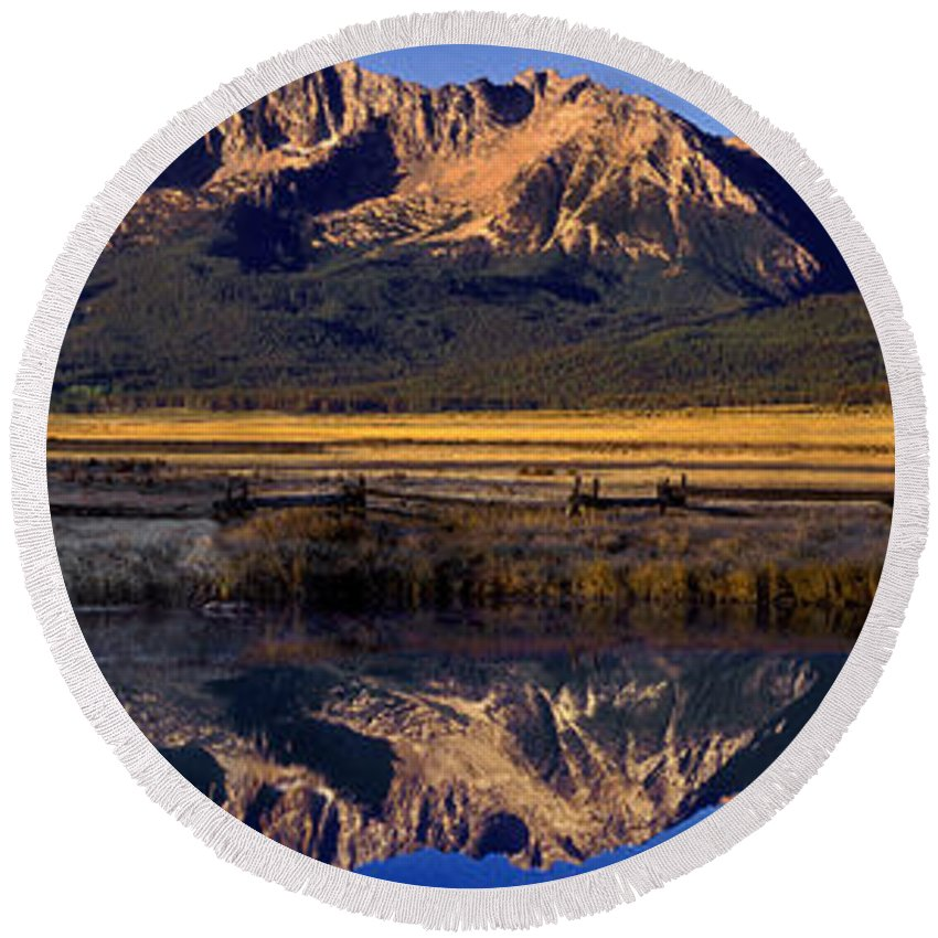 North America Round Beach Towel featuring the photograph Panorama Reflections Sawtooth Mountains Nra Idaho by Dave Welling