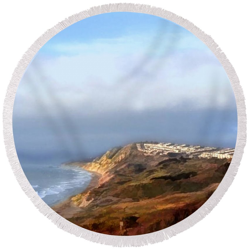 Ocean Round Beach Towel featuring the painting Panoramic California Coast by Elaine Plesser