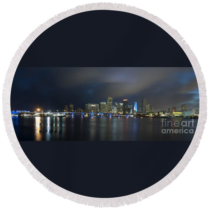 America Round Beach Towel featuring the photograph Panoramic Of Miami Florida by Anthony Totah