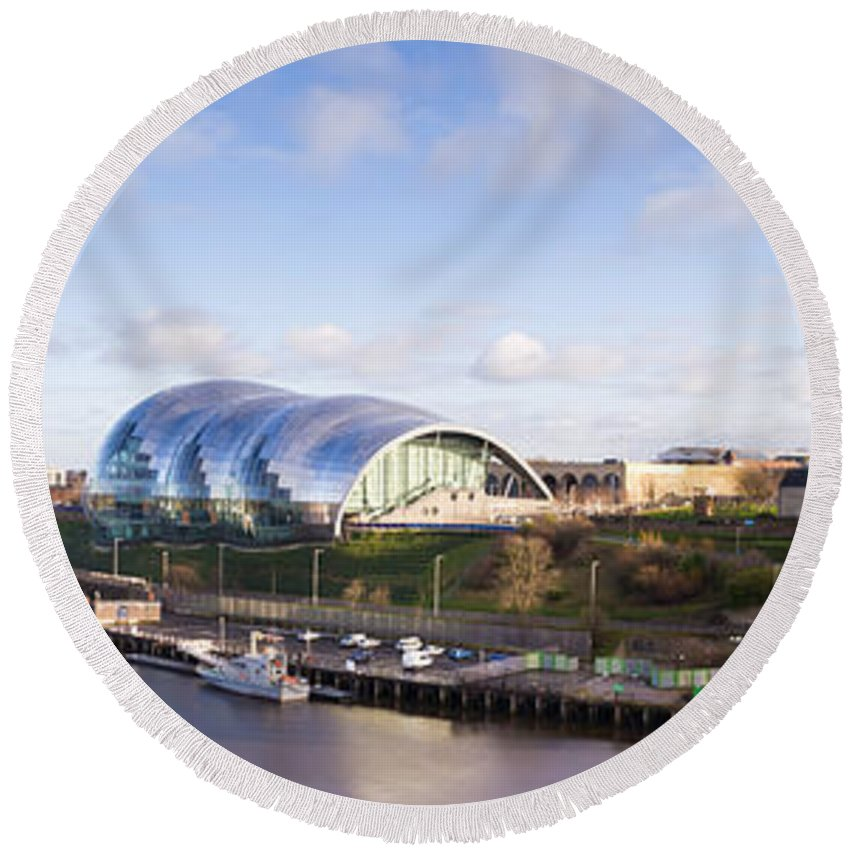 Arch Round Beach Towel featuring the photograph Panoramic Of Newcastle And Gateshead Quayside by David Head