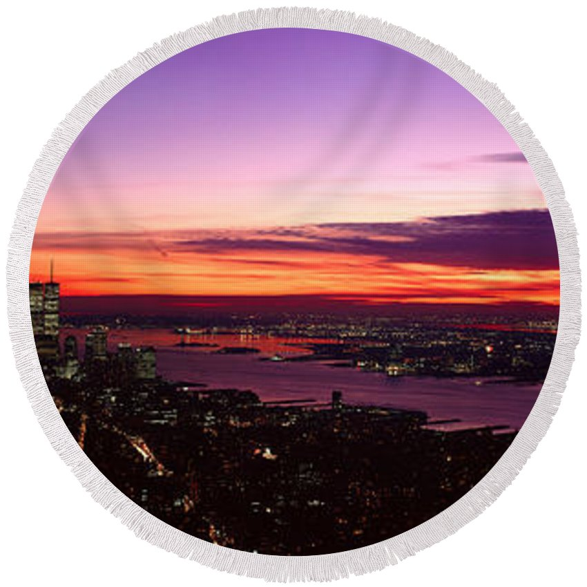 Photography Round Beach Towel featuring the photograph Panoramic View Of Empire State by Panoramic Images