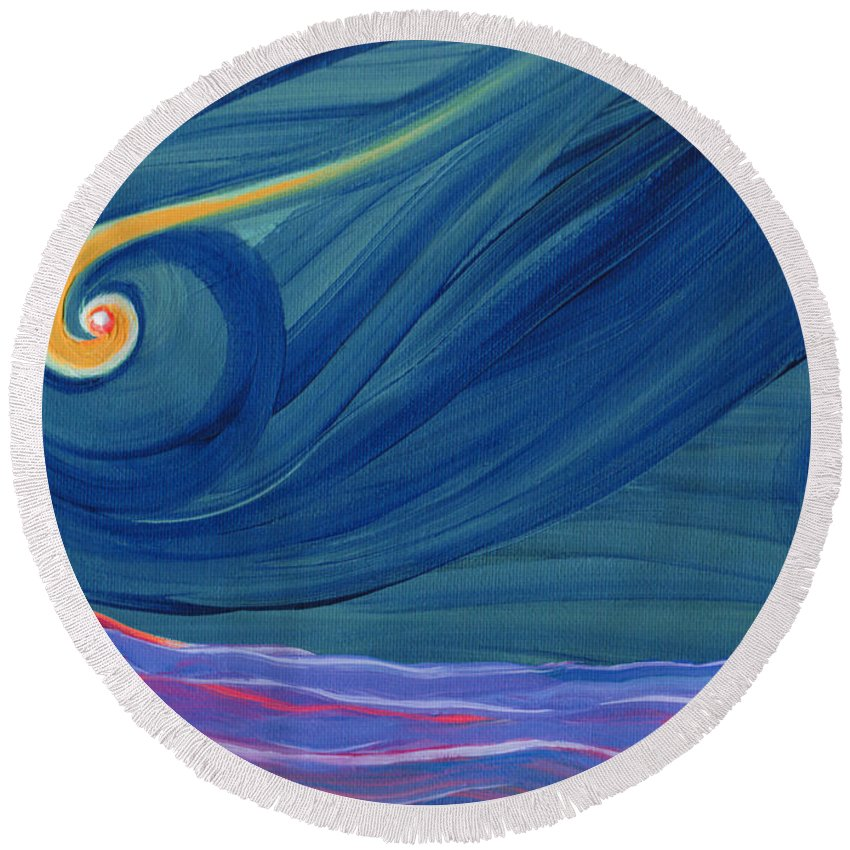 First Star Round Beach Towel featuring the painting Panspermia 2 by First Star Art