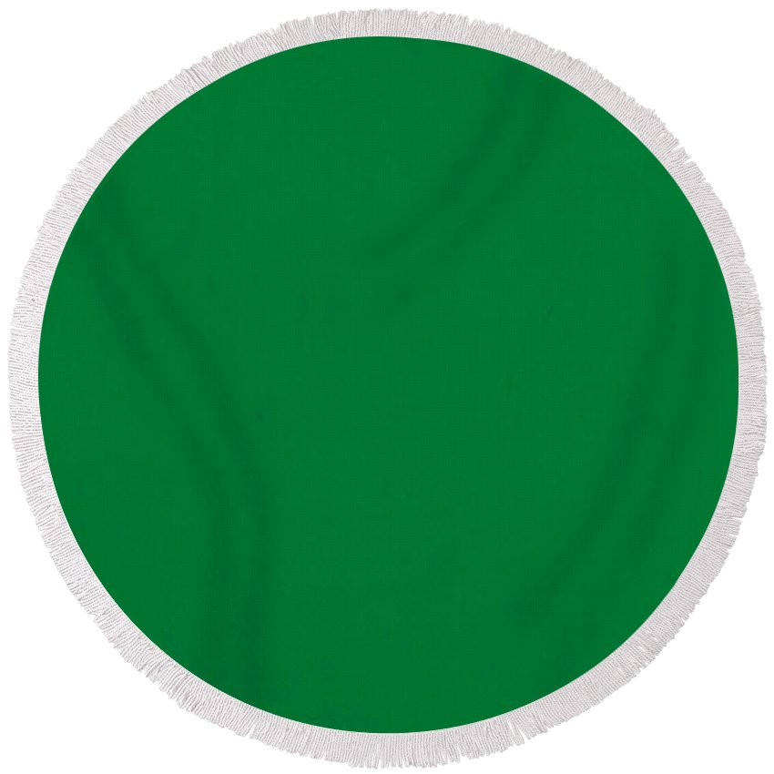 Beautiful Pantone 348 Forest Green Color On Worn Canvas Round Beach Towel  CH57