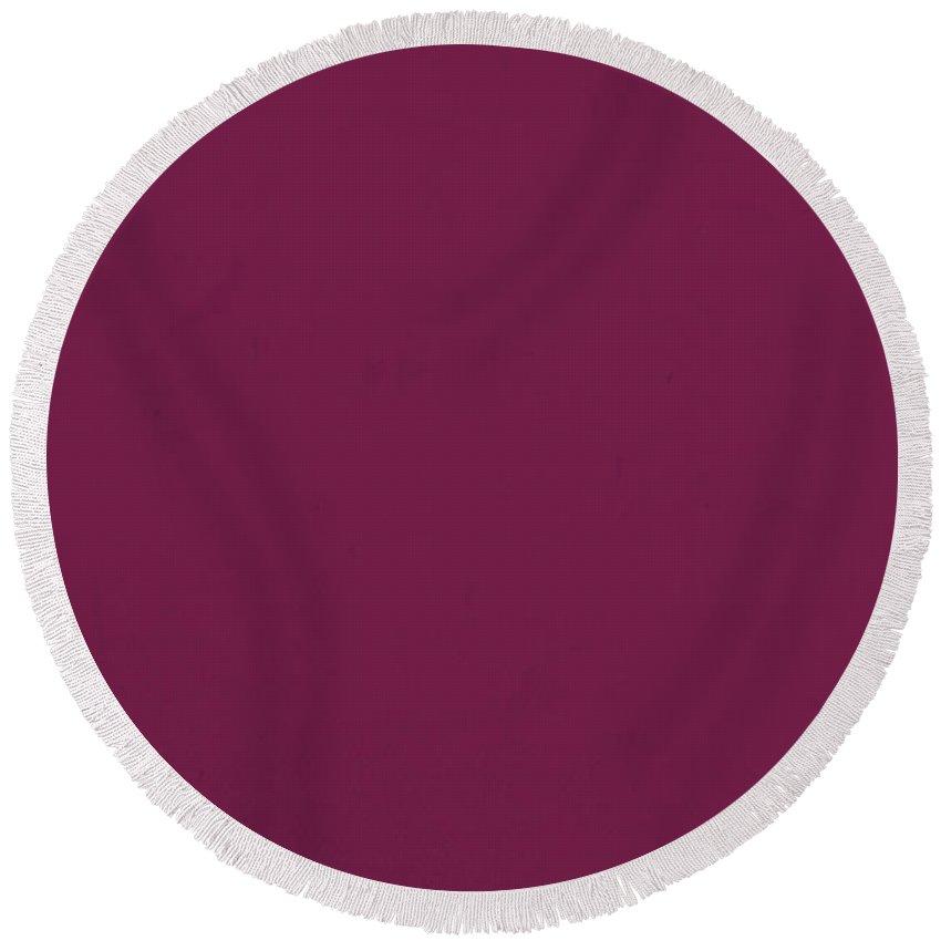 Pantone 683 Plum Purple Color On Worn Canvas Round Beach Towel