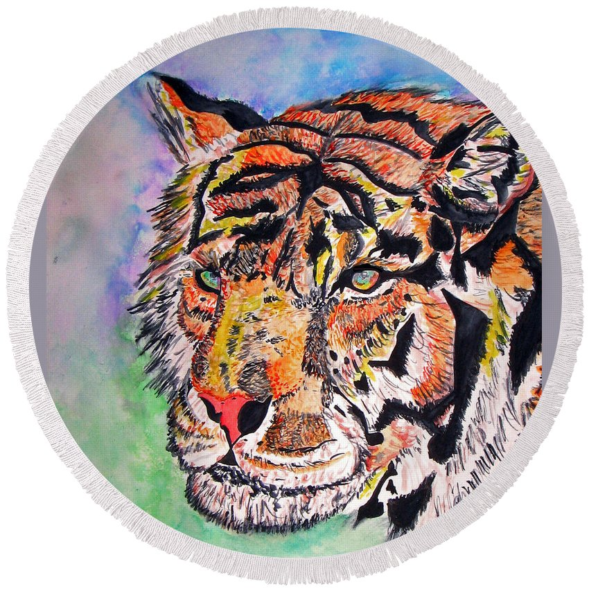 Abstract Round Beach Towel featuring the painting Paradise Dream by Crystal Hubbard