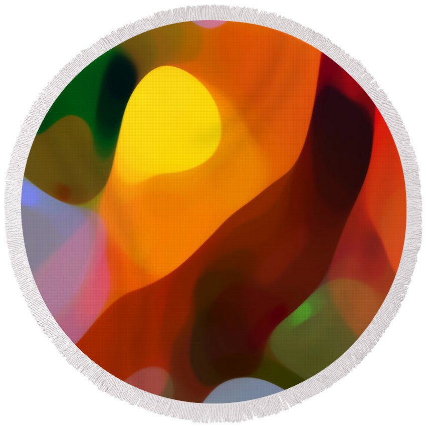 Abstract Art Round Beach Towel featuring the painting Paradise Found 2 Tall by Amy Vangsgard