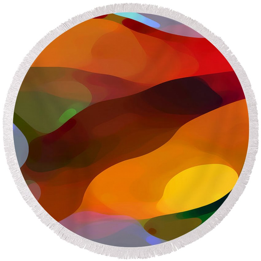 Abstract Round Beach Towel featuring the painting Paradise Found by Amy Vangsgard