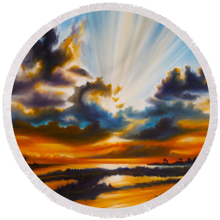 Sunrise Round Beach Towel featuring the painting Paradise by James Christopher Hill