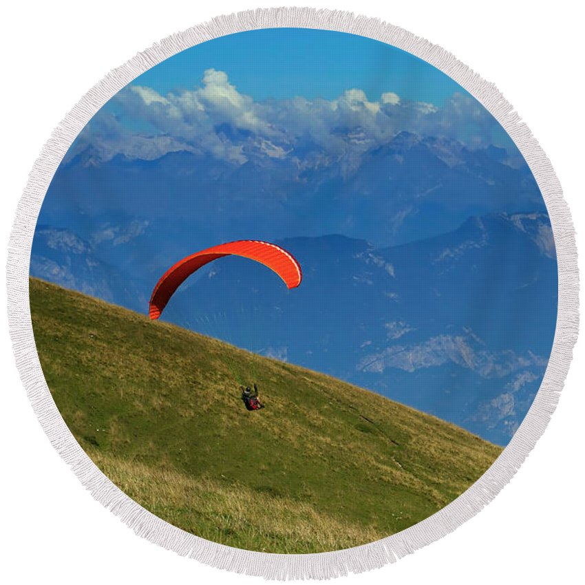 Active Round Beach Towel featuring the photograph Paragliding In The Mountains by Jaroslav Frank