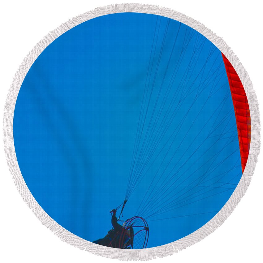 Paragliding Round Beach Towel featuring the photograph Paragliding by Karol Livote