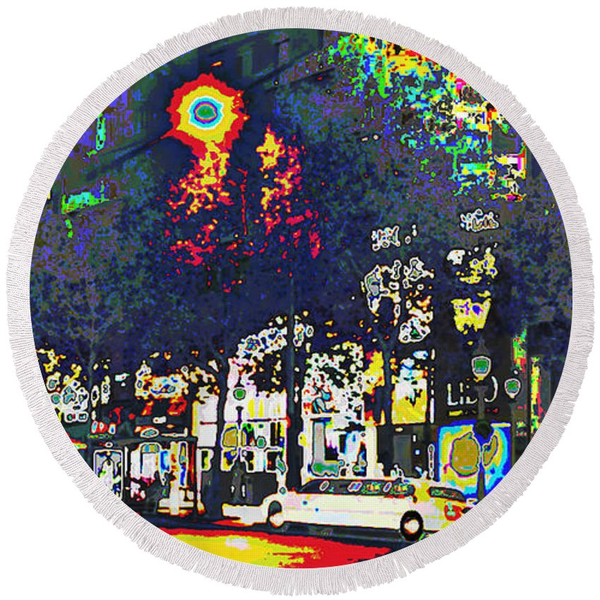 Abstract Round Beach Towel featuring the mixed media Paris At Midnight Limo Pleasure Drive by Navin Joshi