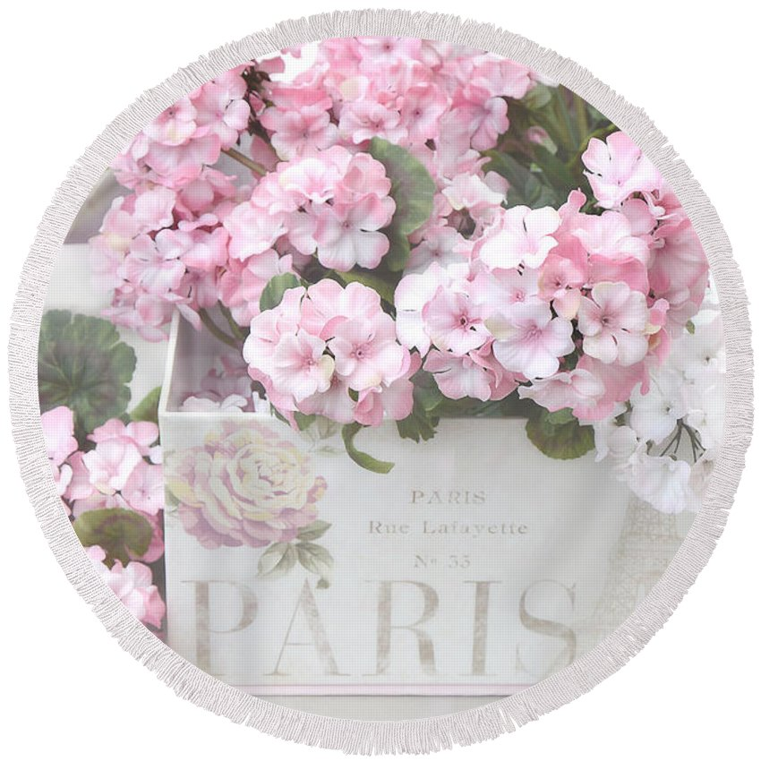Shabby Chic Round Beach Towel featuring the photograph Shabby Chic Paris Pink Flowers, Parisian Shabby Chic Paris Flower Box - Paris Floral Decor by Kathy Fornal