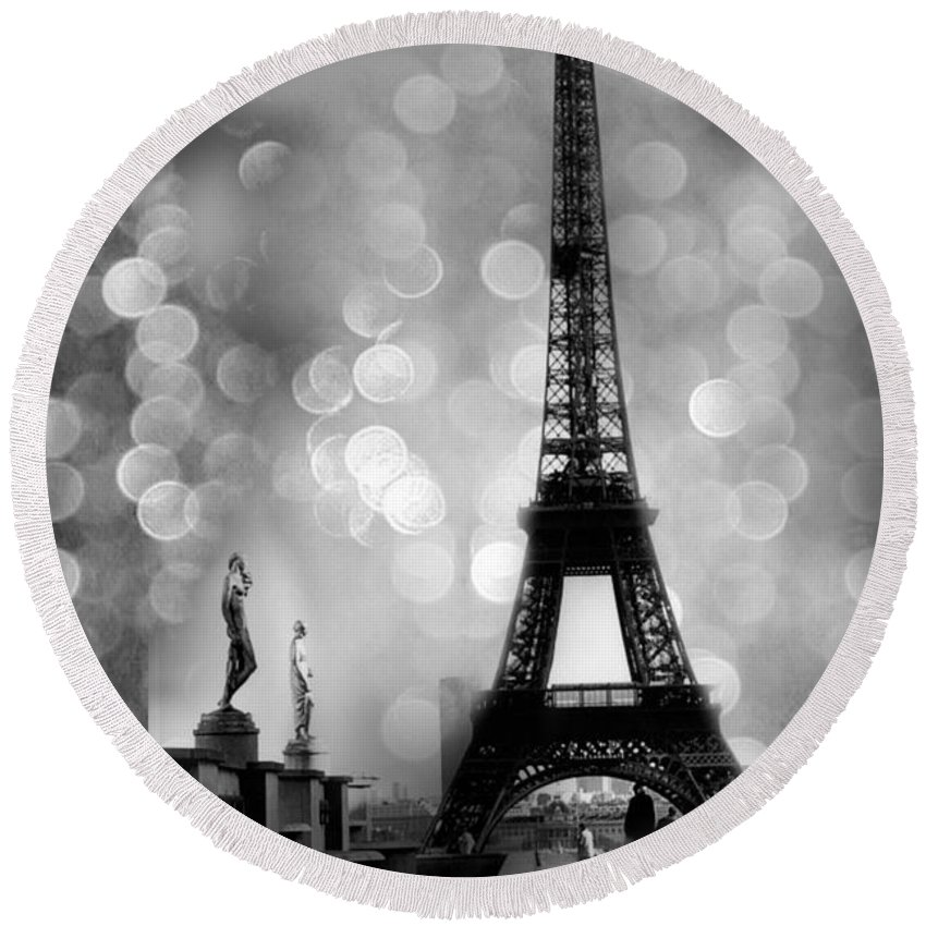 Paris Round Beach Towel featuring the photograph Paris Eiffel Tower Surreal Black And White Photography - Eiffel Tower Bokeh Surreal Fantasy Night by Kathy Fornal