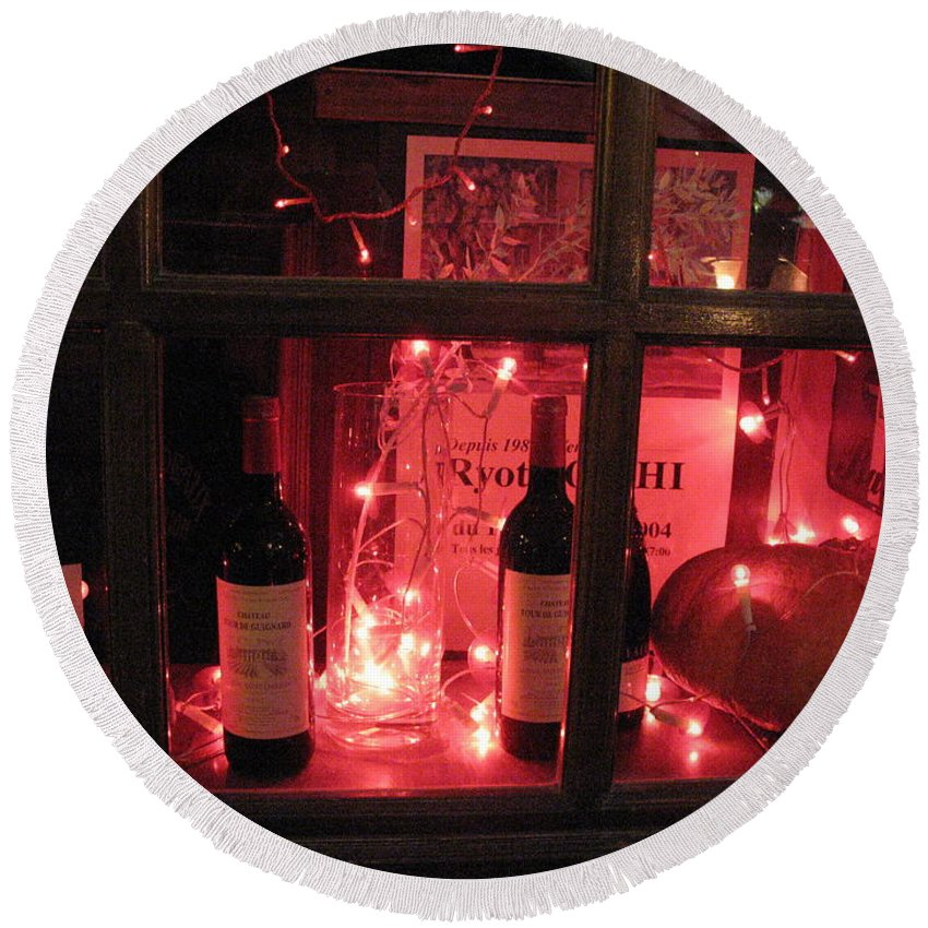 Paris Round Beach Towel featuring the photograph Paris Holiday Christmas Wine Window Display - Paris Red Holiday Wine Bottles Window Display by Kathy Fornal