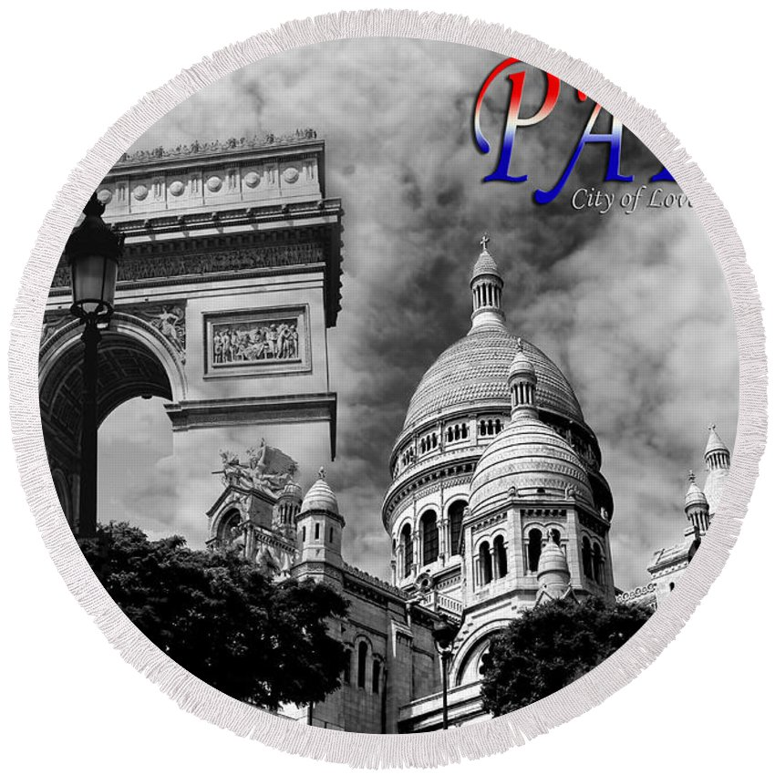 Paris Round Beach Towel featuring the photograph Paris Montage 2 by Andrew Fare