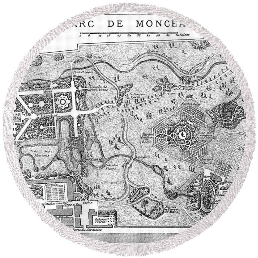 1778 Round Beach Towel featuring the painting Paris Parc Monceau, 1778 by Granger