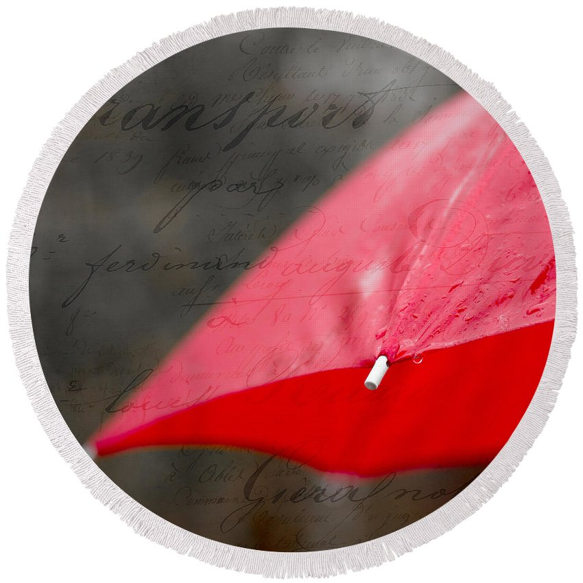 Red Round Beach Towel featuring the photograph Paris Spring Rains by Edward Fielding