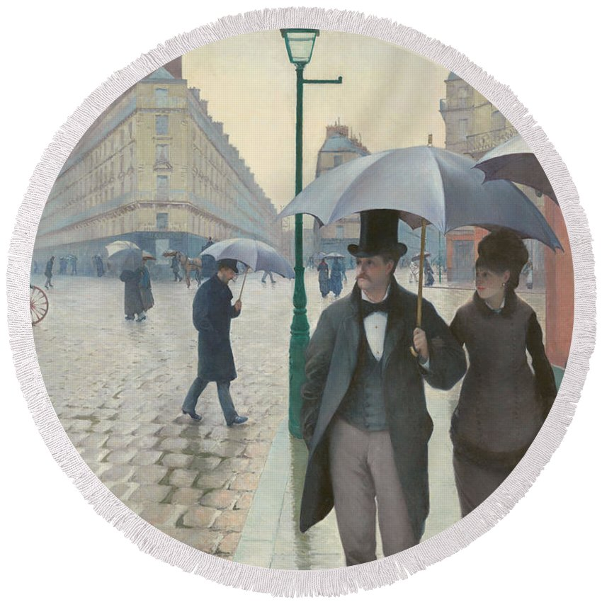 Gustave Caillebotte Round Beach Towel featuring the painting Paris Street In Rainy Weather by Gustave Caillebotte