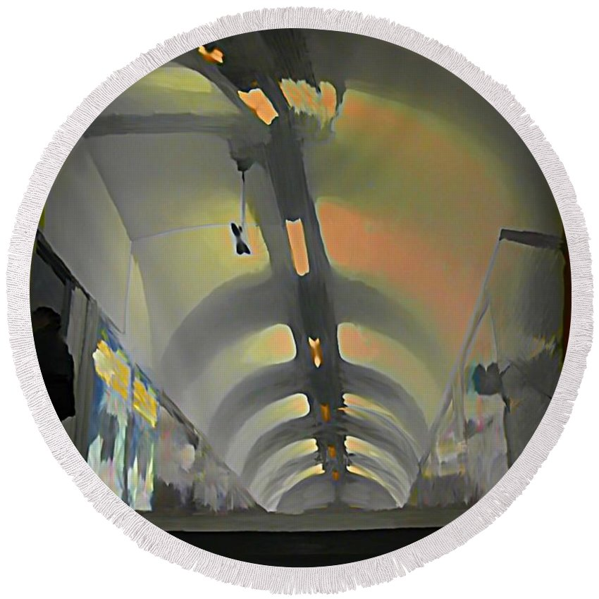 Subway Round Beach Towel featuring the painting Paris Subway Tunnel by John Malone