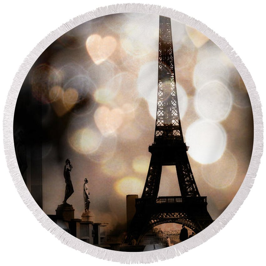 Eiffel Tower Round Beach Towel featuring the photograph Paris Surreal Fantasy Sepia Black Eiffel Tower Bokeh Hearts And Circles - Paris Eiffel Tower Hearts by Kathy Fornal