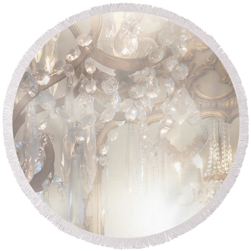 Paris Chandeliers Round Beach Towel featuring the photograph Paris Dreamy White Gold Ghostly Crystal Chandelier Mirrored Reflection - Paris Crystal Chandeliers by Kathy Fornal
