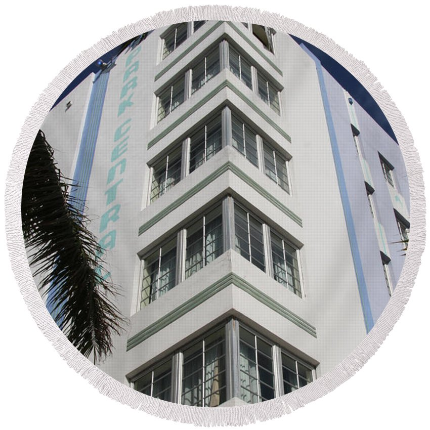 Park Central Building Round Beach Towel featuring the photograph Park Central Building - Miami by Christiane Schulze Art And Photography