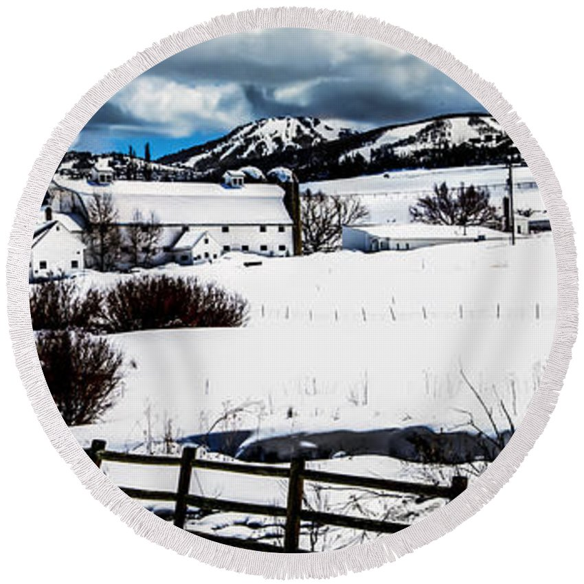 Barn Round Beach Towel featuring the photograph Park City Winter Landscape by La Rae Roberts