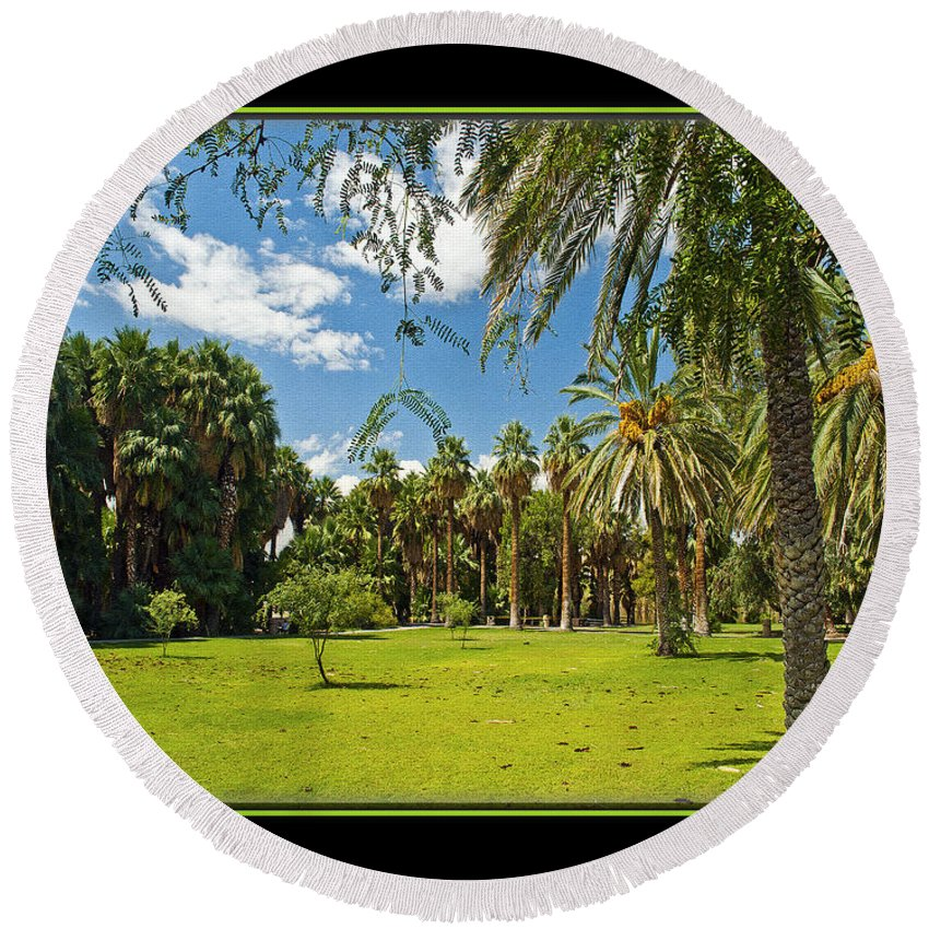 Park Round Beach Towel featuring the photograph Park Open Area by Larry White