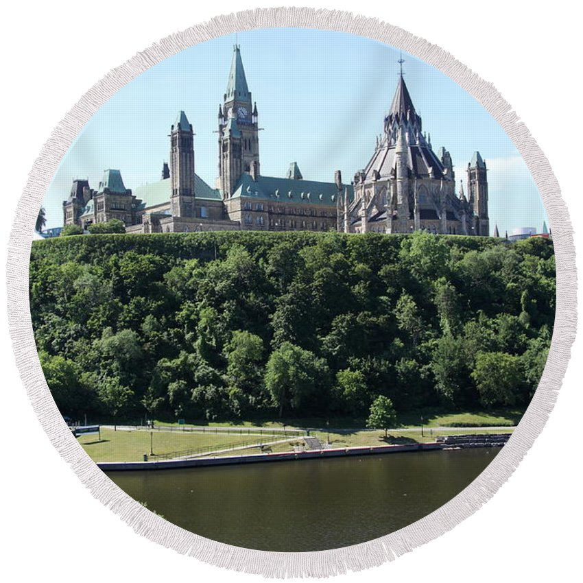 Parliament Hill Round Beach Towel featuring the photograph Parliament Hill - Ottawa by Christiane Schulze Art And Photography