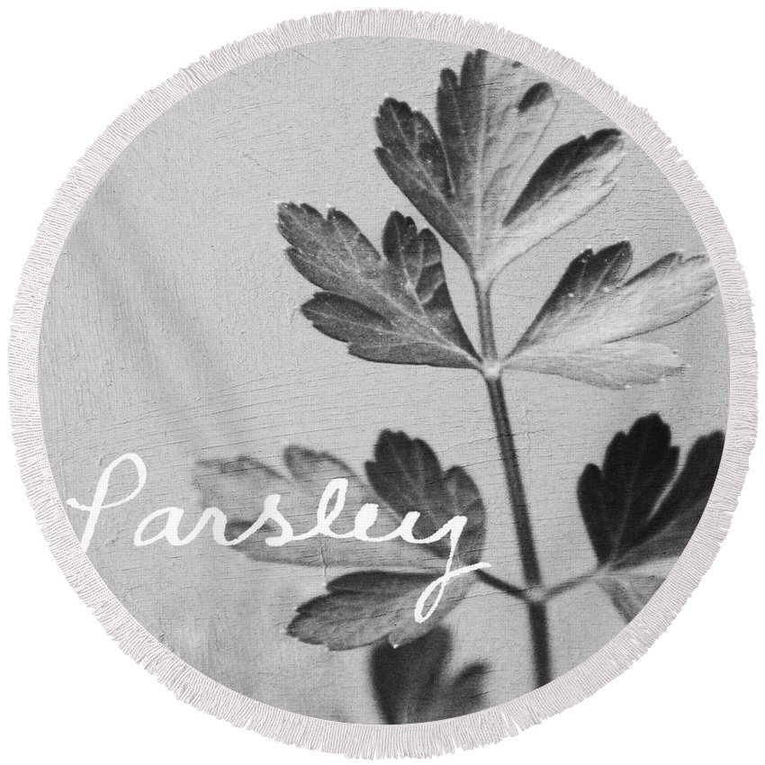 Parsley Round Beach Towel featuring the mixed media Parsley by Linda Woods
