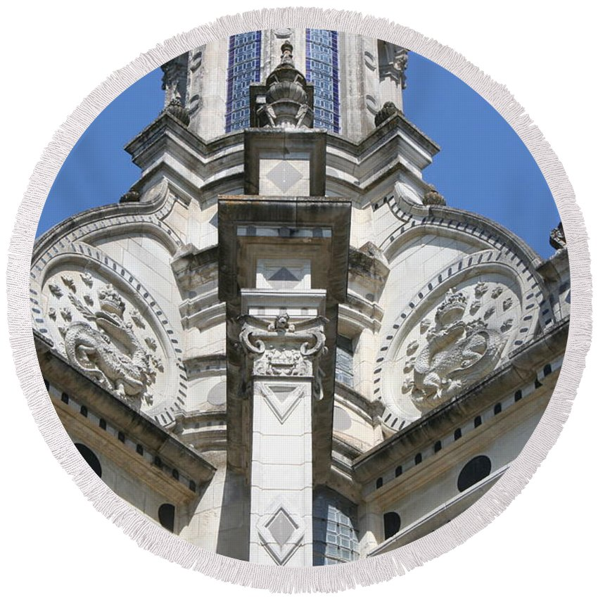 Palace Round Beach Towel featuring the photograph Part Of The Crown - Palace Chambord - France by Christiane Schulze Art And Photography