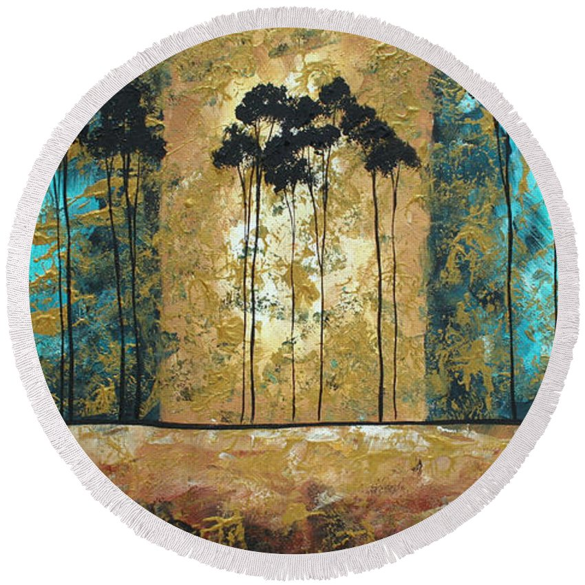 Art Round Beach Towel featuring the painting Parting Of Ways By Madart by Megan Duncanson