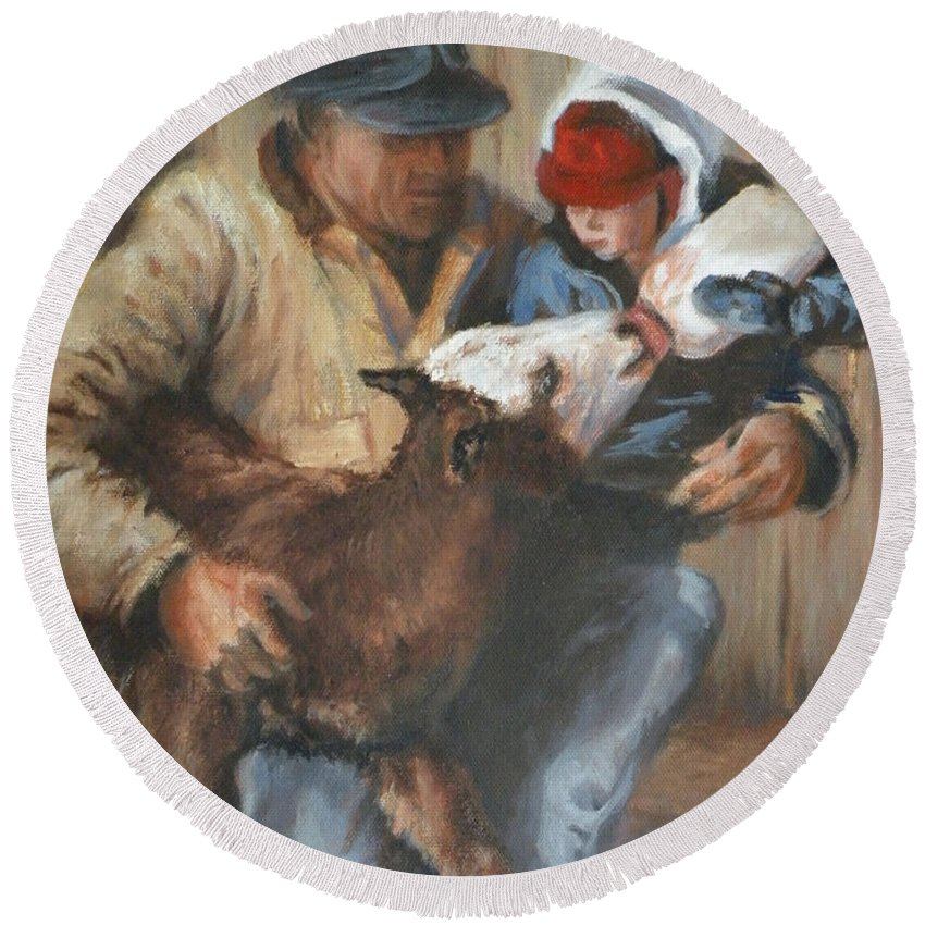 Ranching Round Beach Towel featuring the painting Passing The Torch by Mia DeLode