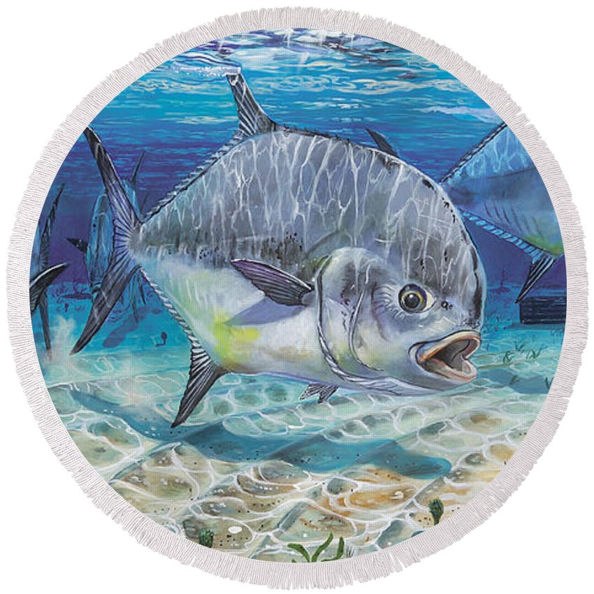 Permit Round Beach Towel featuring the painting Passing Through In009 by Carey Chen