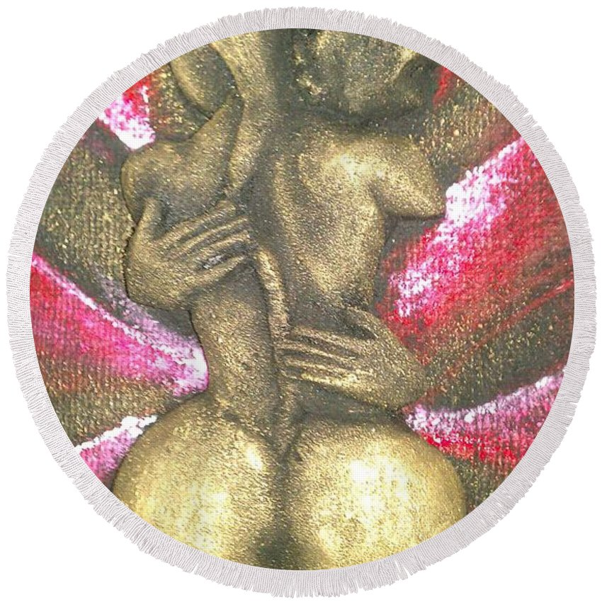 Women Round Beach Towel featuring the digital art Passion by Bineyson