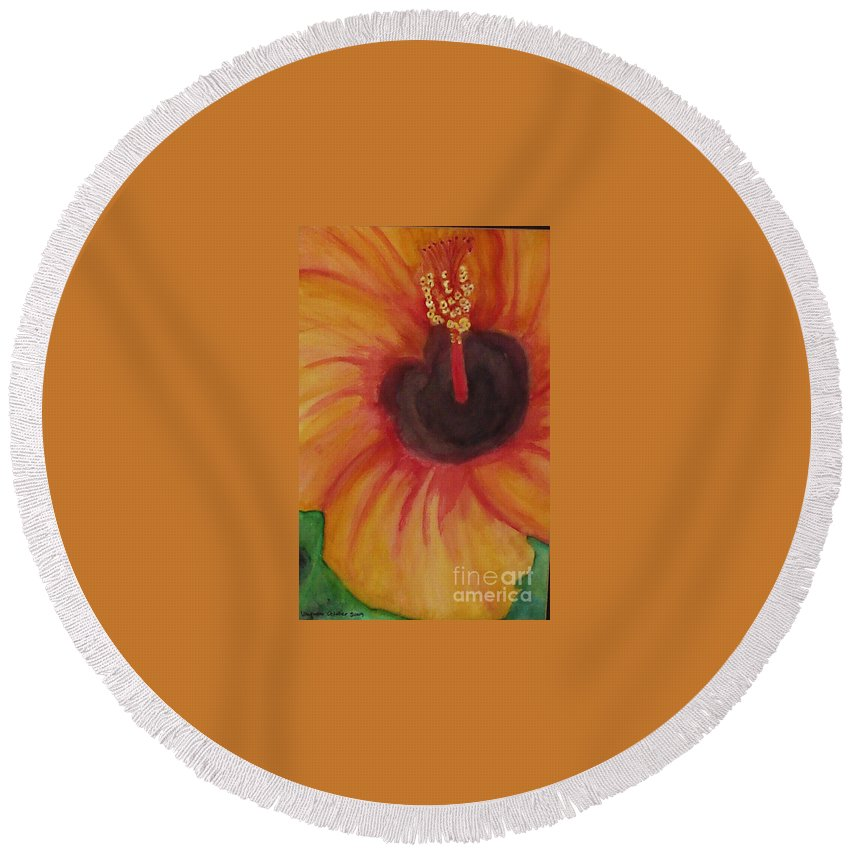 Water Color Flower Round Beach Towel featuring the painting Passion Flower by Yael VanGruber