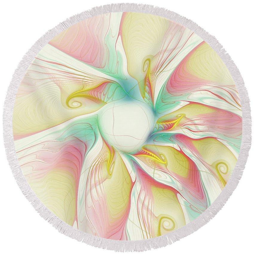 Flower Round Beach Towel featuring the digital art Pastel Flower by Deborah Benoit