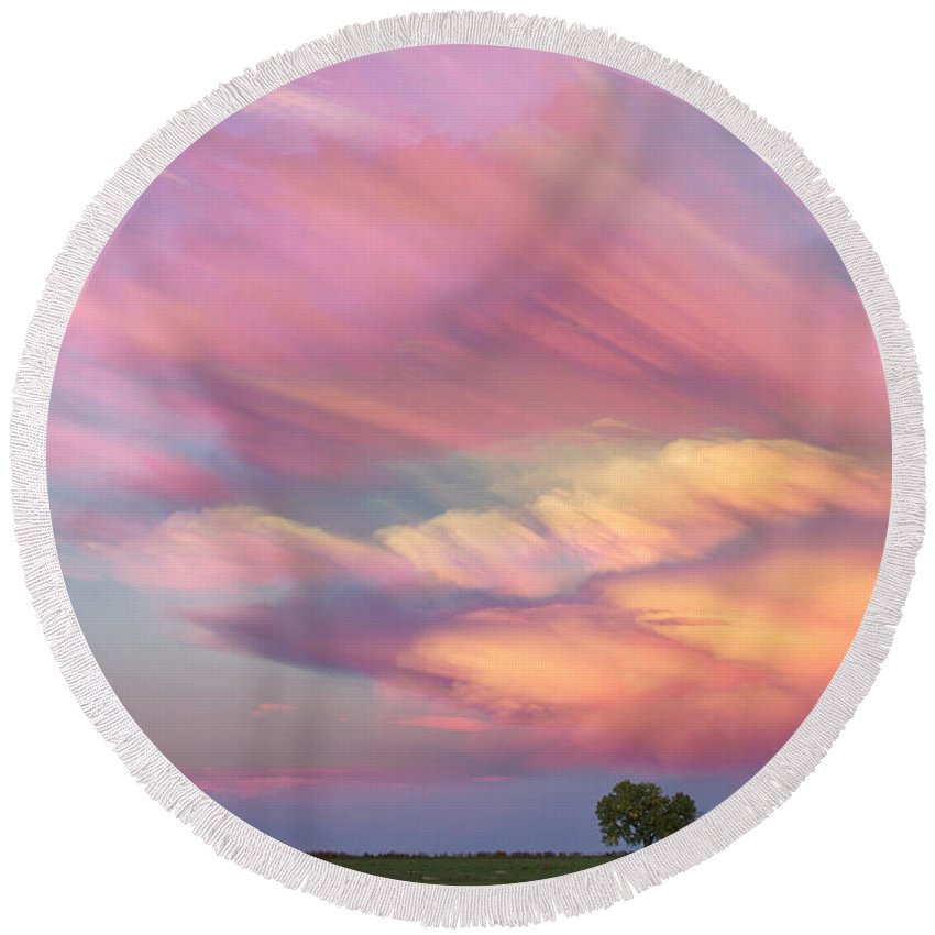 Sunsets Round Beach Towel featuring the photograph Pastel Painted Sunset Sky by James BO Insogna