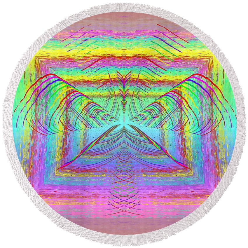 Abstract Round Beach Towel featuring the digital art Pastel Rainbow Reverberations by Tim Allen