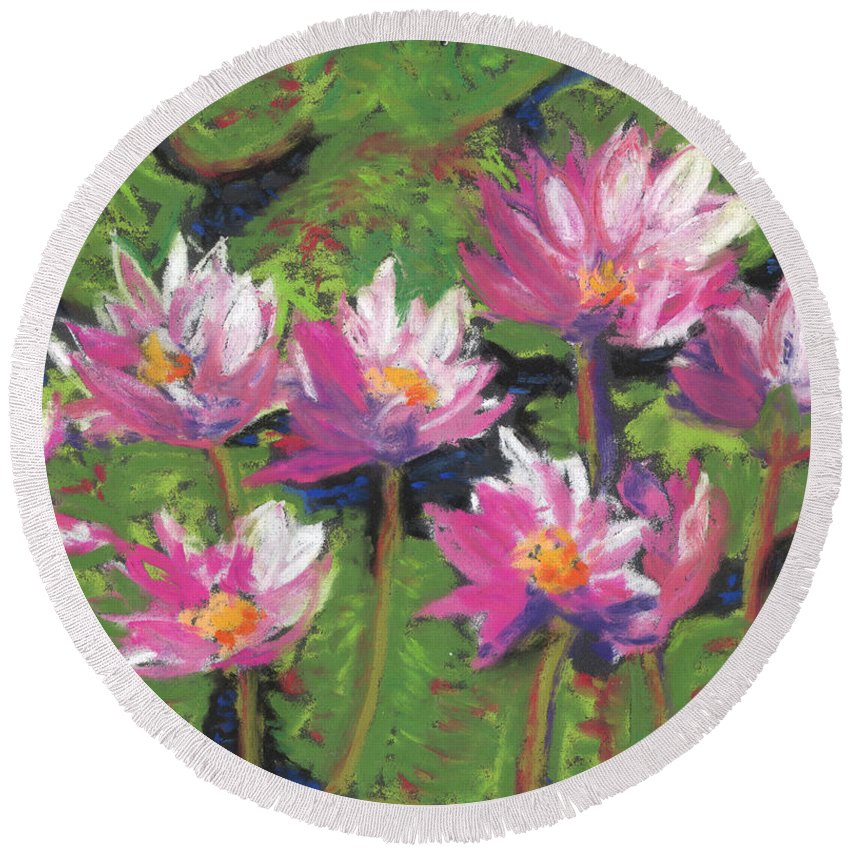 Pastel Round Beach Towel featuring the painting Pastel Water Lilies I by Vicki Baun Barry