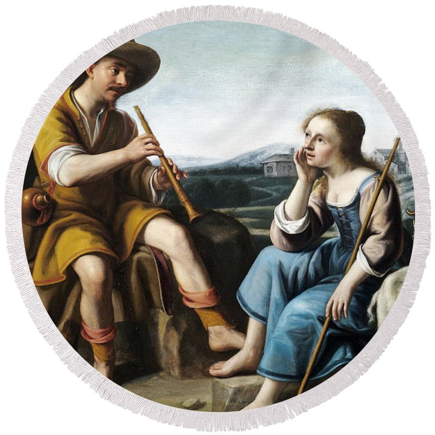 Circle Of Abraham Bloemaert Round Beach Towel featuring the painting Pastoral Scene With A Shepherd Family Against A Countryside Background by Circle of Abraham Bloemaert