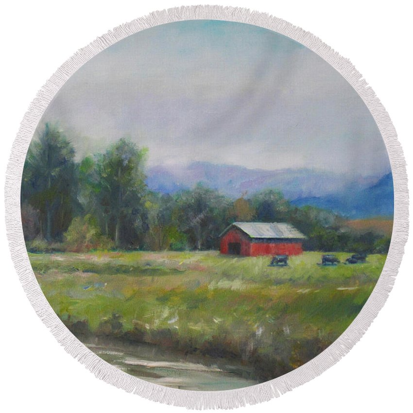 Painting Round Beach Towel featuring the painting Pasture by Sarah Parks
